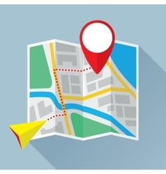 Folding paper map with route flat icon vector