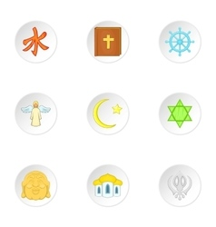 Spirituality icons set cartoon style vector