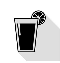 glass of juice icons black icon with flat style vector image