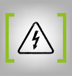 High voltage danger sign  black scribble vector