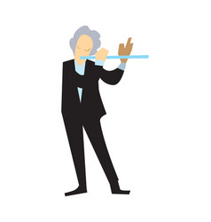 Musician playing flute isolated vector