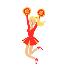 Blond cheerleader teenager girl jumping with red vector