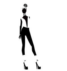 Silhouettes of one girls vector