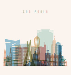 Sao paulo skyline detailed silhouette vector