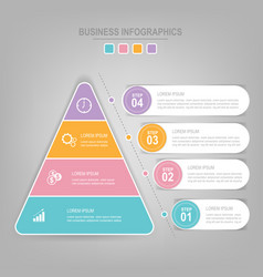 Infographics template of four steps on squares vector