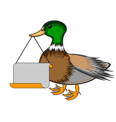 A duck holding a big blank paper in his beak vector