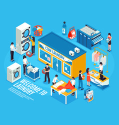 Laundry interior isometric composition vector