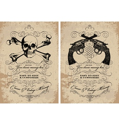 Guns and skulls vintage frames vector