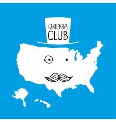 Fun hand drawn moustache cartoon america map vector