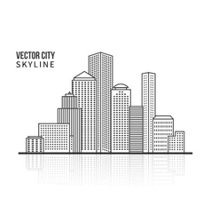 City skyline silhouette in line style vector