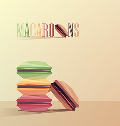 Macaroon cakes in geometric polygonal design vector