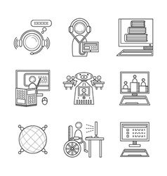 Distance education thin line icons vector
