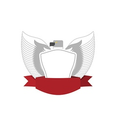 Emblem of white bird with shield hawk military vector