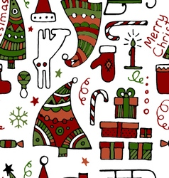 Classic colored hand drawn christmass elements vector