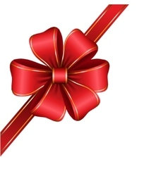 Red gift bow with ribbon vector