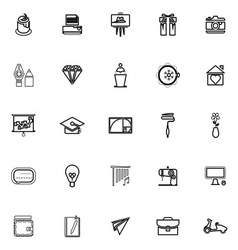 Art and creation line icons on white background vector