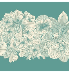 Vintage flowers border vector