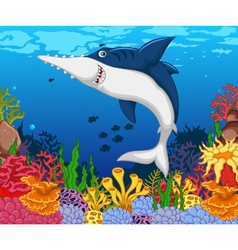 Funny shark saws cartoon with beauty sea life vector