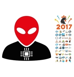 Alien cyborg icon with 2017 year bonus pictograms vector