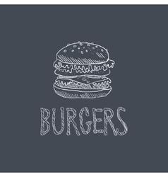 Burger sketch style chalk on blackboard menu item vector