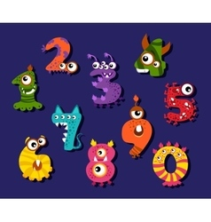Cartoon funny numbers or comic digits set vector