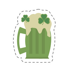 Cartoon green glass beer clover st patricks day vector