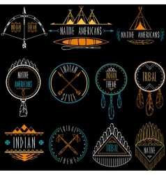 Collection of badges and labels in indian tribal vector