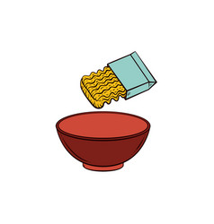 Cooking pasta - instant noodle and empty bowl vector