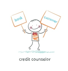 Credit counselor holding a plate with the bank and vector