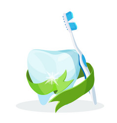 dental care poster tooth with toothbrush on vector image vector image