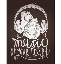 Design of music poster with anatomical heart vector