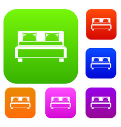 double bed set collection vector image