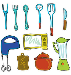 Drawn kitchen stuff vector