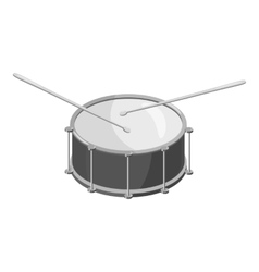 Drum with sticks icon gray monochrome style vector