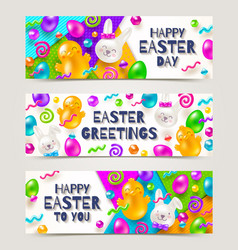 Easter greeting banners vector