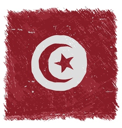 Flag of tunisia handmade square shape vector