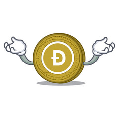 Hand up dogecoin character cartoon style vector