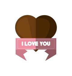 I love you card brown heart card vector