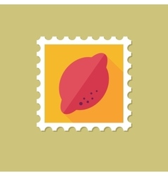 Lemon flat stamp with long shadow vector image vector image