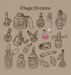 Magic potions tubes and bottles vector
