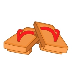 Pair of wooden clogs icon cartoon style vector