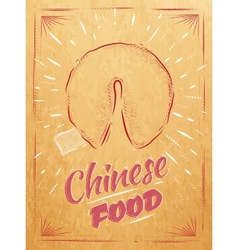 Poster chinese food fortune cookies kraft vector
