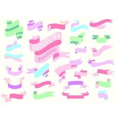 Ribbon banner pastel vector
