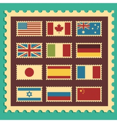 Vintage Stamps Representing World Flags vector image