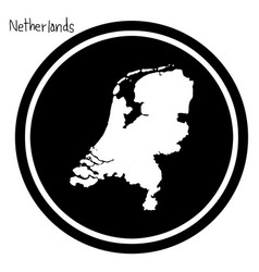 White map of netherlands on black vector