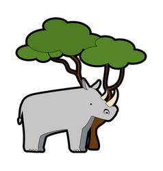 wild rhinoceros with tree vector image