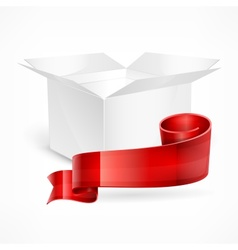 White box red ribbon vector image