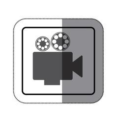 sticker monochrome square shape with retro movie vector image