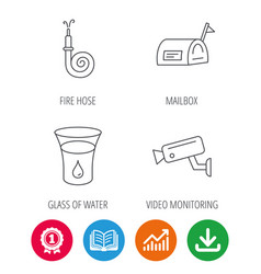 Mailbox video monitoring and fire hose icons vector