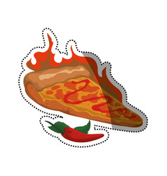 Pizza slice spicy sauce vector
